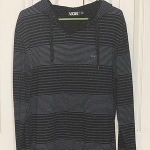 Vans black & grey striped mens large light hoodie